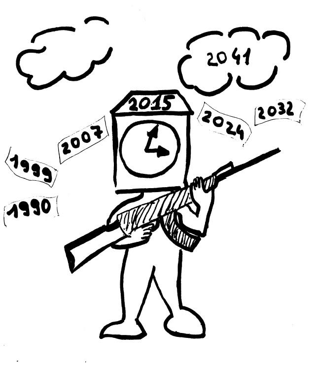 Dessin de l'horloge de l'inconscient et le Cycle des guerres